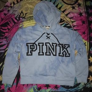 PINK lace up hooded sweatshirt S